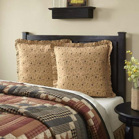 Natural Tan Primitive Bedding Cobblestone Cotton Floral / Flower Euro (Flower Sham)