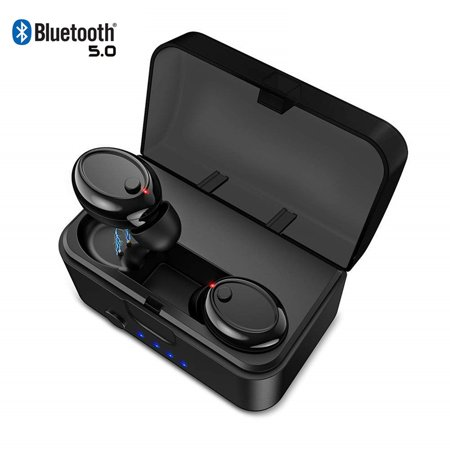 [2019 Version] TWS Bluetooth 5.0 Earbuds 【True Wireless Stereo】 Headphones IPX8 Waterproof in-Ear Wireless Charging Case Built-in Mic Headset Premium Sound with Deep Bass for Running
