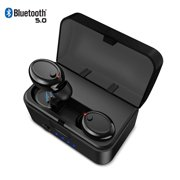 [2019 Version] TWS Bluetooth 5.0 Earbuds 【True Wireless Stereo】 Headphones IPX8 Waterproof in-Ear Wireless Charging Case Built-in Mic Headset Premium Sound with Deep Bass for Running Sport