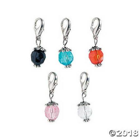 Silvertone Color Bead Dangles - 30 mm