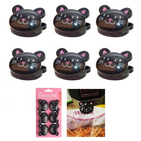 (6 Pc Sealing Chip Clips Storage Bag Fresh Food Snack Clip Grip Coffee Crafts Cat)
