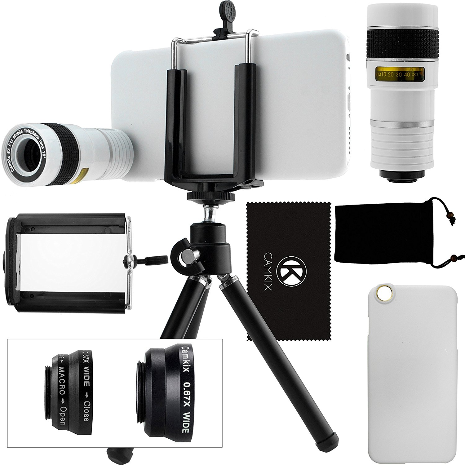 CamKix Camera Lens Kit for iPhone 6 / 6S (NOT SUITABLE FOR IPHONE 6 / 6S PLUS) - including 8x Telephoto / Fisheye / 2in1 Macro and Wide Angle Lens / Tripod / Holder / Hard Case / Velvet Bag / Cloth