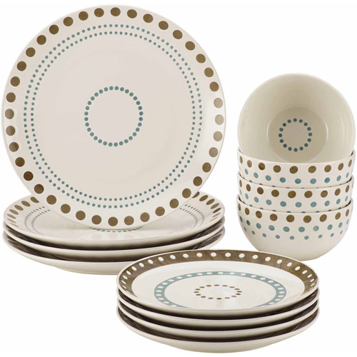 Rachael Ray Cucina Circles and Dots 12-Piece Stoneware Dinnerware Set