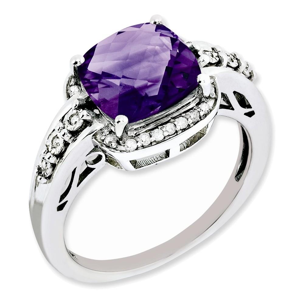 Sterling Silver Diamond & Checker-Cut Amethyst Ring Size 7