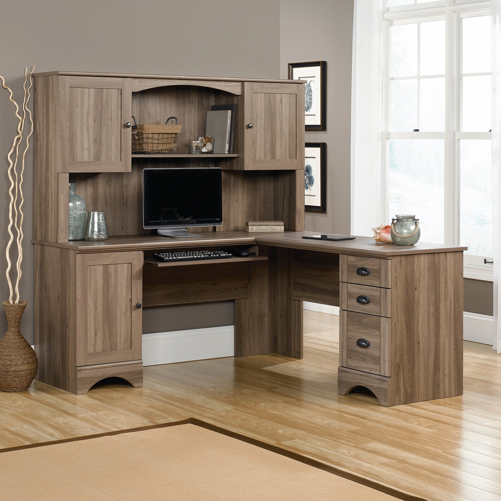 Sauder Harbor View L-Shaped Computer Desk with Optional Hutch