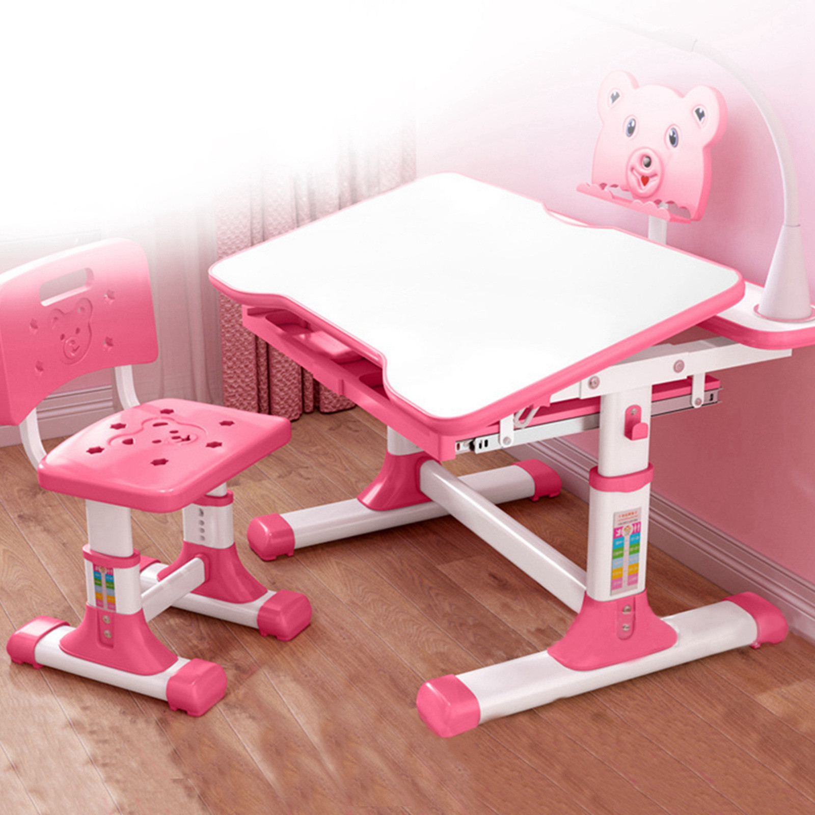 Details about  /Children Desk and Chair Set Height Adjustable Kids Study Drawing Play Table CO