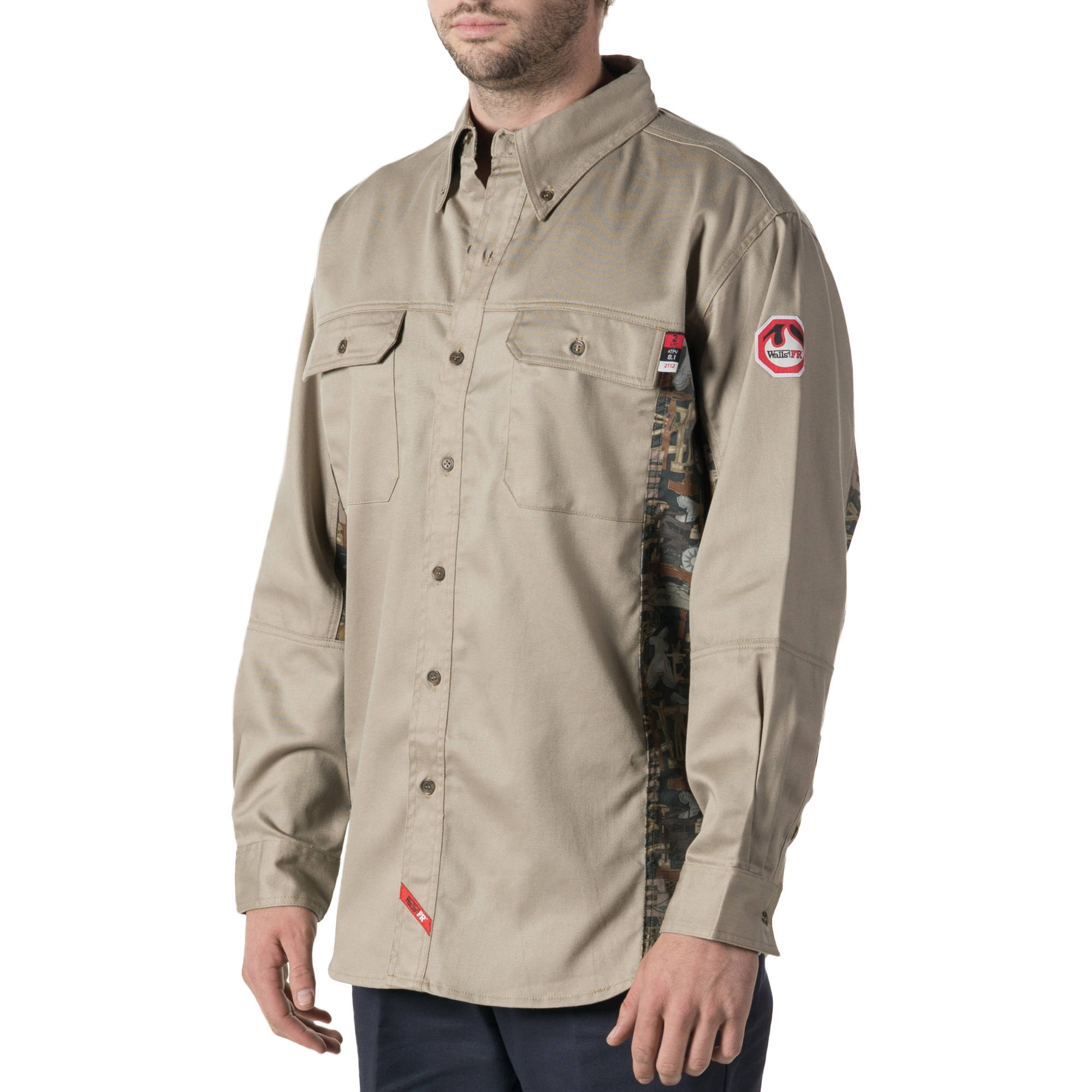 Walls FR Men's Flame Resistant Oilfield Camo Work Shirt, HRC Level 2
