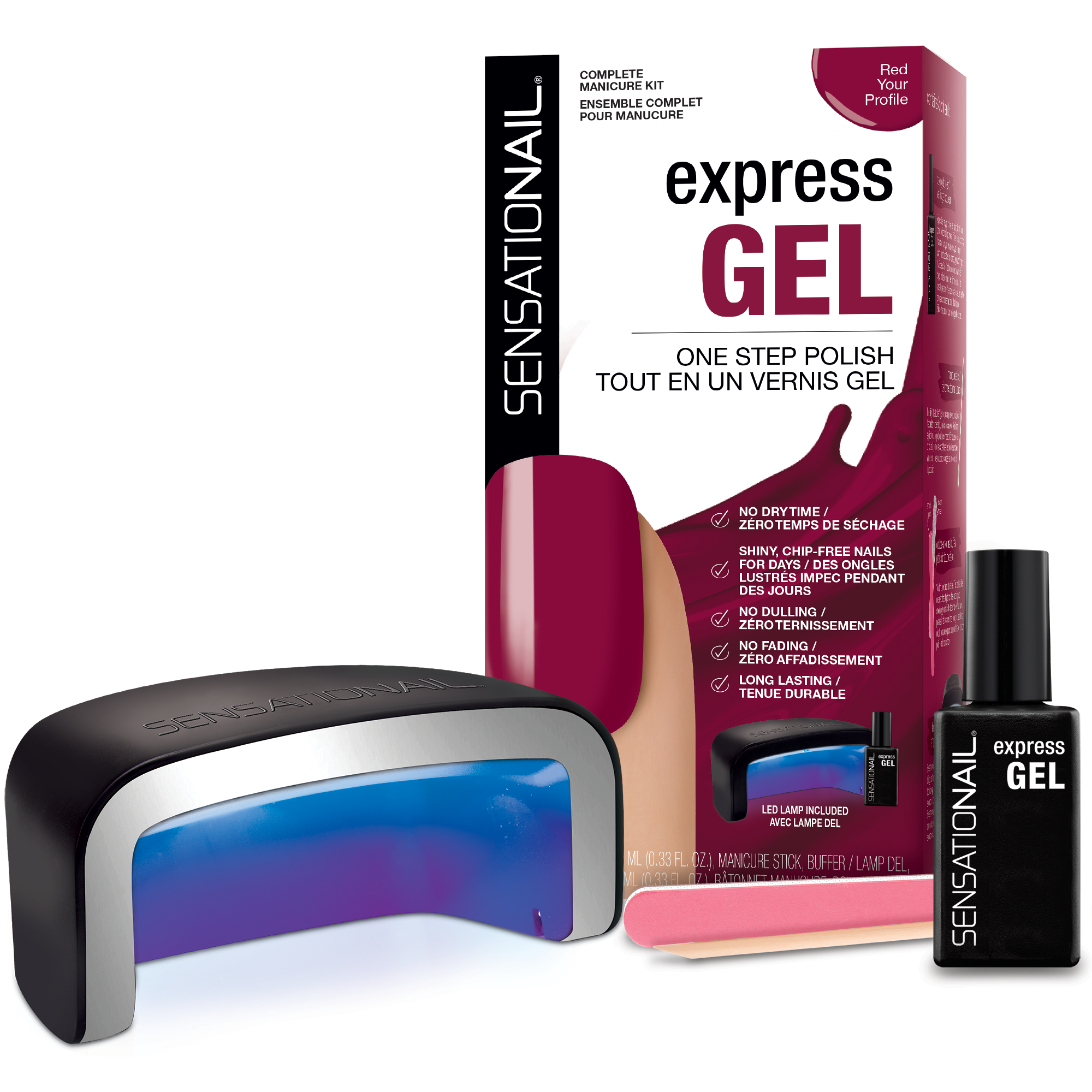 "SensatioNail Express Gel Nail Polish Starter Kit ""Red Your Profile"", Red, 4 pc (incl LED Lamp)"