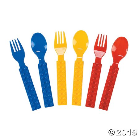 Plastic Color Brick Kids Party Fork & Spoon Set - Brick And Spoon