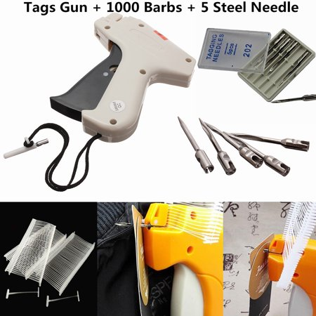 Price Label Tagging Clothes Garment Tag steelneedle Gun + 1000 Barbs 50mm + 5 Steel Needles For Clothing Shop Appiled for attaching cardboards/brand labels/price labels to thick and hard material of leather,luggage,box ,toys. Also for attaching tag to clothes,garments,socks,etc.Tagging needles features:5 needles packed in 1 box.Material:SteelColor:SliverLength:3cmTag gun Features:Material:Acrylonitrile Butadiene Styrene (ABS)plasticColor: Black and WhiteSize:11x11.5cmTagging barbs features:Material: Polypropylene(PP)PlasticColor:WhiteSize:length-5.5cm,diameter-50mmPackage include:1 x Tag Gun 5 x Tagging Needles  1000 x Barbs