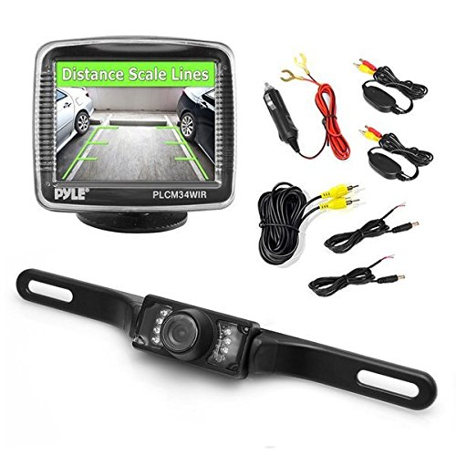 "Pyle PLCM34WIR - Wireless Backup Car Camera Rearview Monitor System - Parking & Reverse Safety Distance Scale Lines, Waterproof & Night Vision Cam, 3.5"" LCD Screen Video Color Display for Vehicles"