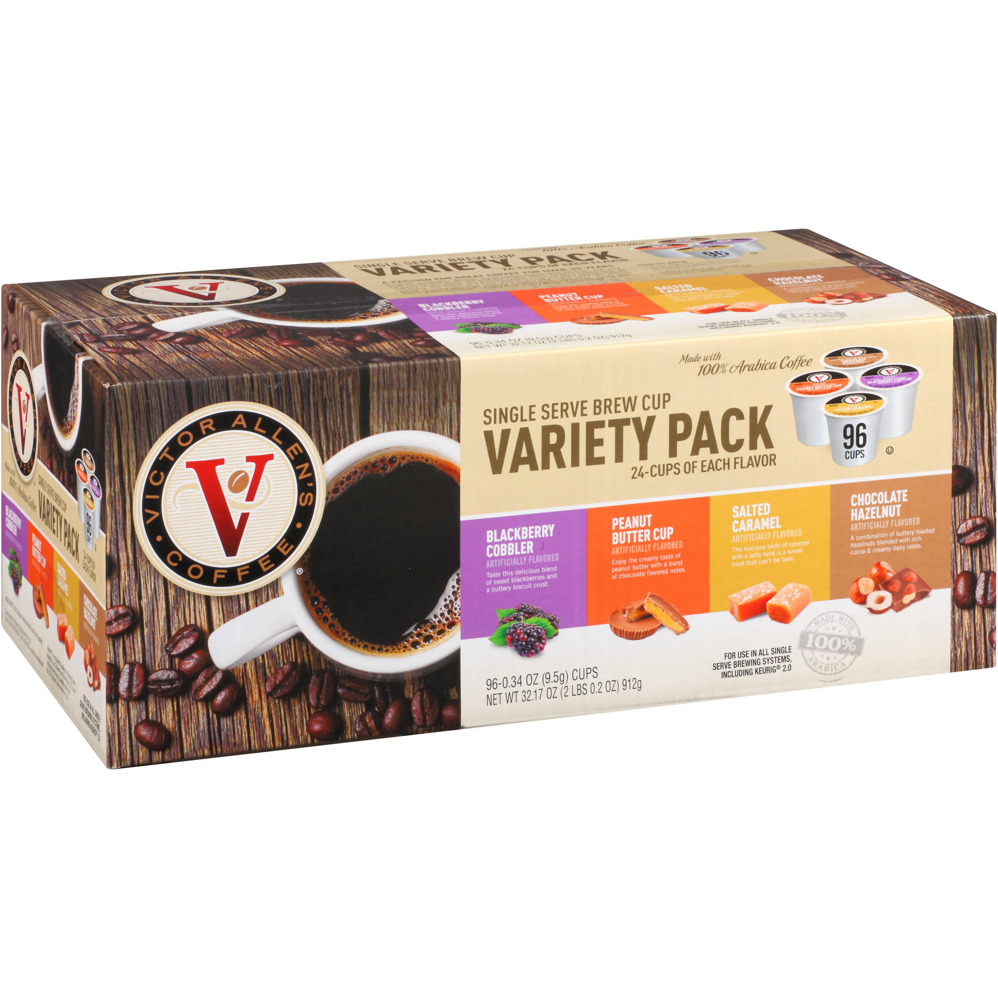 Victor Allen's Coffee Variety Pack Coffee Single Serve Brew Cups, .34 oz, 96 count