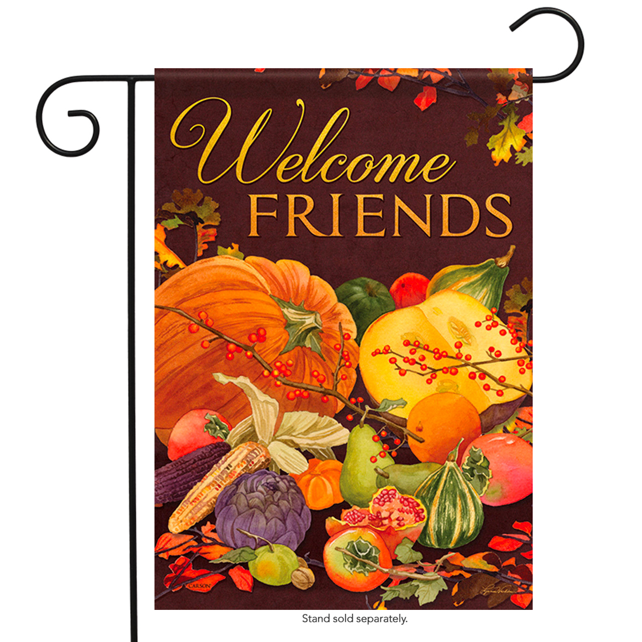 "Harvest Welcome Friends Garden Flag Autumn Cornucopia Double Sided 12.5"" x 18"""