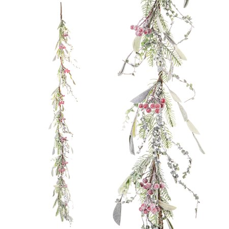 Darice Christmas Garland Berry Leaf Frost 6ft ()