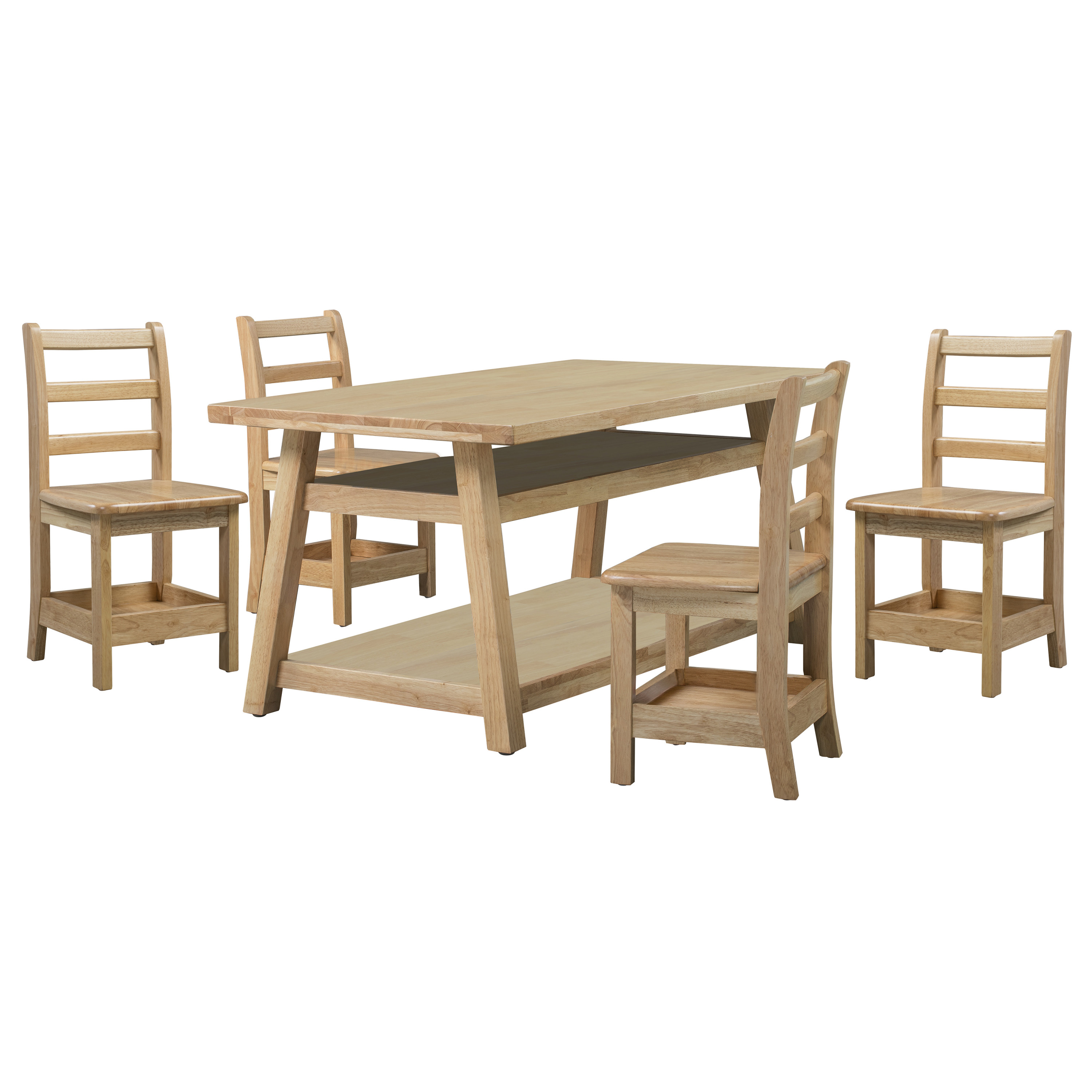 Sit n' Stash Rectangular Table and Four 14in Chairs