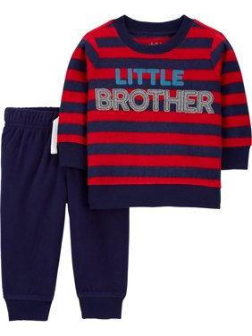 Child of Mine by Carter's Baby Boy Long Sleeve Shirt and Fleece Jogger 2pc Outfit Set