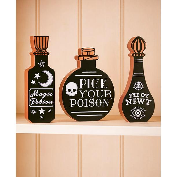 Sit For A Spell Halloween Decoration Collection Black Potion Bottles Set Of 3 Walmart Com Walmart Com