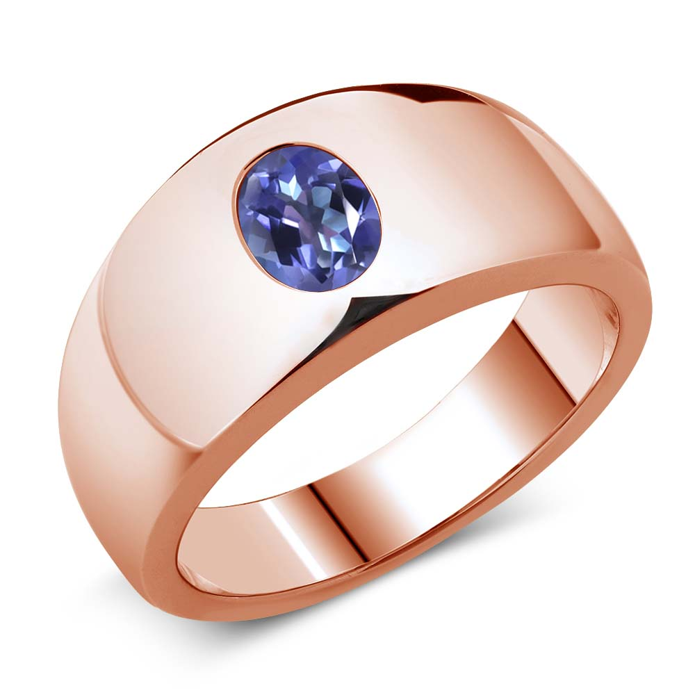 1.60 Ct Oval Purple Blue Mystic Topaz 18K Rose Gold Men's...
