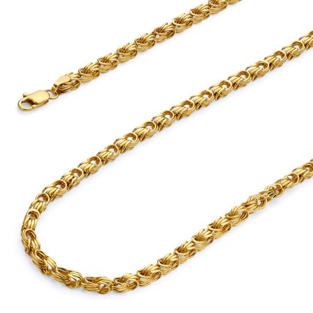 Wellingsale 14k Yellow Gold Polished 2.5mm Hollow Square Byzantine Chain Necklace with Lobster Claw Clasp - 20