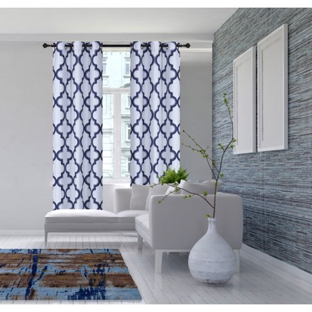 2-Piece 7LO Navy Blue Geometric Blackout Lined Grommet Window Curtain Set, Two (2) Printed Thermal Panels 37