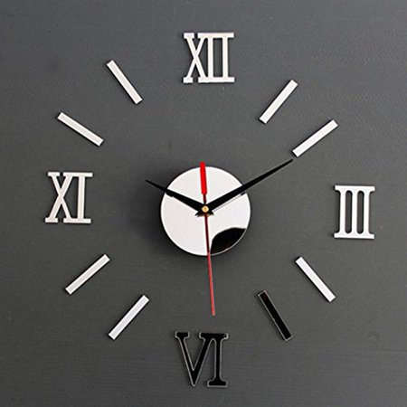 Wall Stickers,GOODCULLER DIY Classic 3D DIY Mirror Living Modern Design Home Room Decoration Time Wall Clock Background Decorated Decal Home - Wall Clock Decal