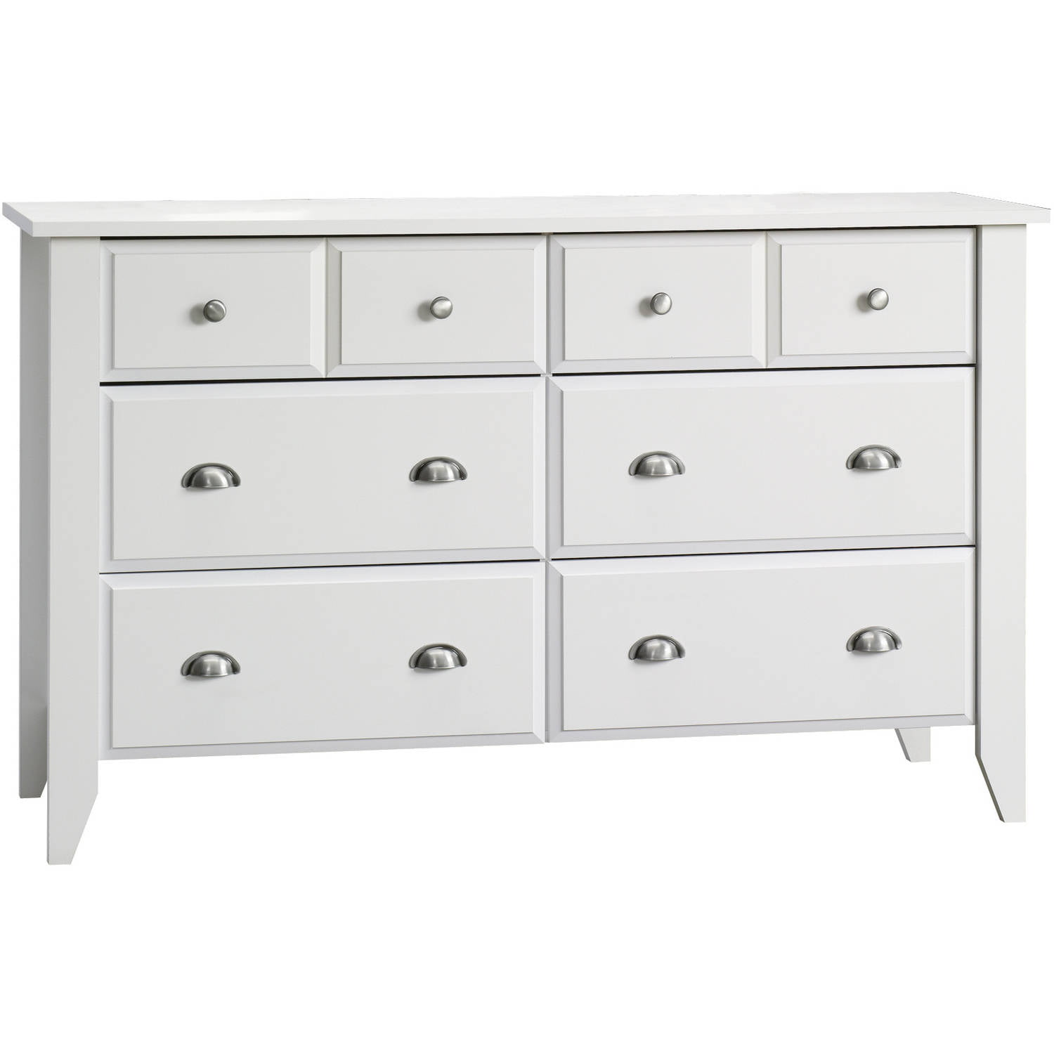 Bennett 6 Drawer Double Dresser Whitewash Wood Grain Walmart