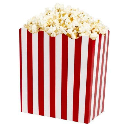 Large Popcorn Boxes (50-Pack Large Popcorn Boxes - 64oz Popcorn Gift Boxes, Red and White Stripes Popcorn Containers, Movie Nights, Pirate Party Supplies, 6.2 x 3.5 x 6.7)