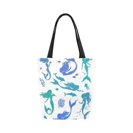 HATIART Watercolor Mermaid Silhouettes Canvas Tote Bag Shoulder Handbag Grocery Bag for School Shopping Travel - image 3 of 3