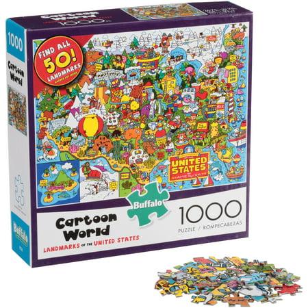 Buffalo™ Cartoon World Landmarks of the United States Puzzle 1000 pc. Box (United States Puzzle Game)