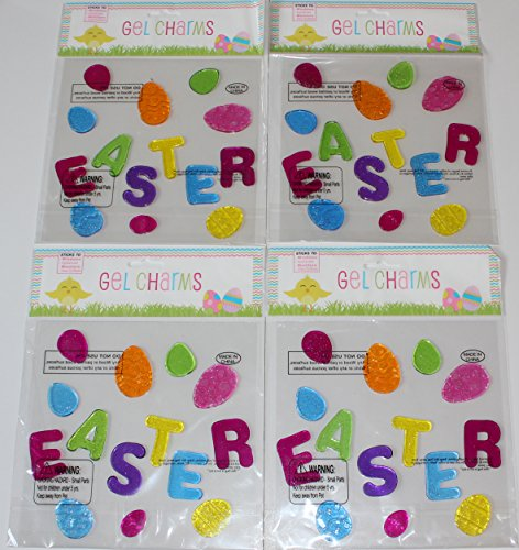 Nantucket Home Easter Word and Assorted Easter Eggs Gel Window Clings, 4 Sets