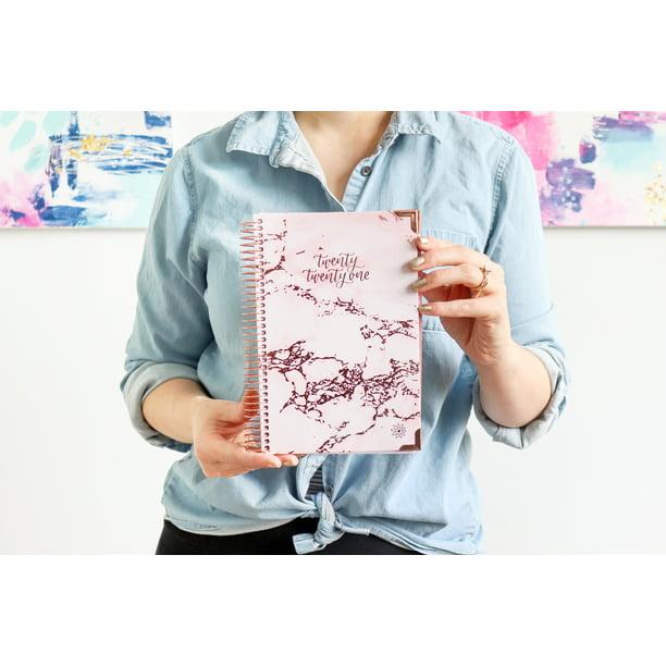 D214 2021-2022 Calendar 2021 HARD COVER DAILY PLANNER & CALENDAR, PINK MARBLE   bloom