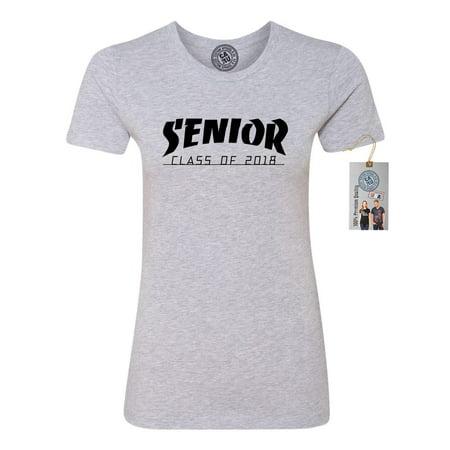 8d82a8b2a Custom Apparel R Us - Senior Class of 2018 High School College Womens Short  Sleeve T-Shirt - Walmart.com
