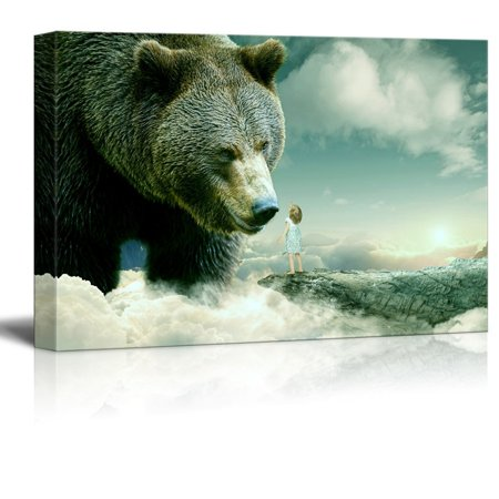 wall26 Canvas Wall Art - Fantasy Series - Little Girl Reaching out for a Bear - Giclee Print Gallery Wrap Modern Home Decor Ready to Hang - 24x36 inches (A Girls Fantasy)