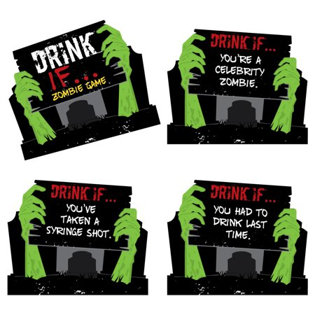 Drink If Game - Zombie Zone - Halloween or Birthday Zombie Crawl Party Game - 24 Count - Charlie Brown Halloween Birthday Party