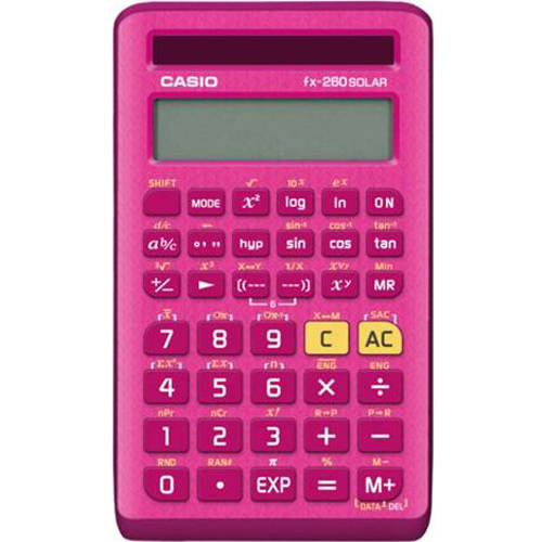 Casio FX-260SOLAR11 Scientific Calculator, Pink