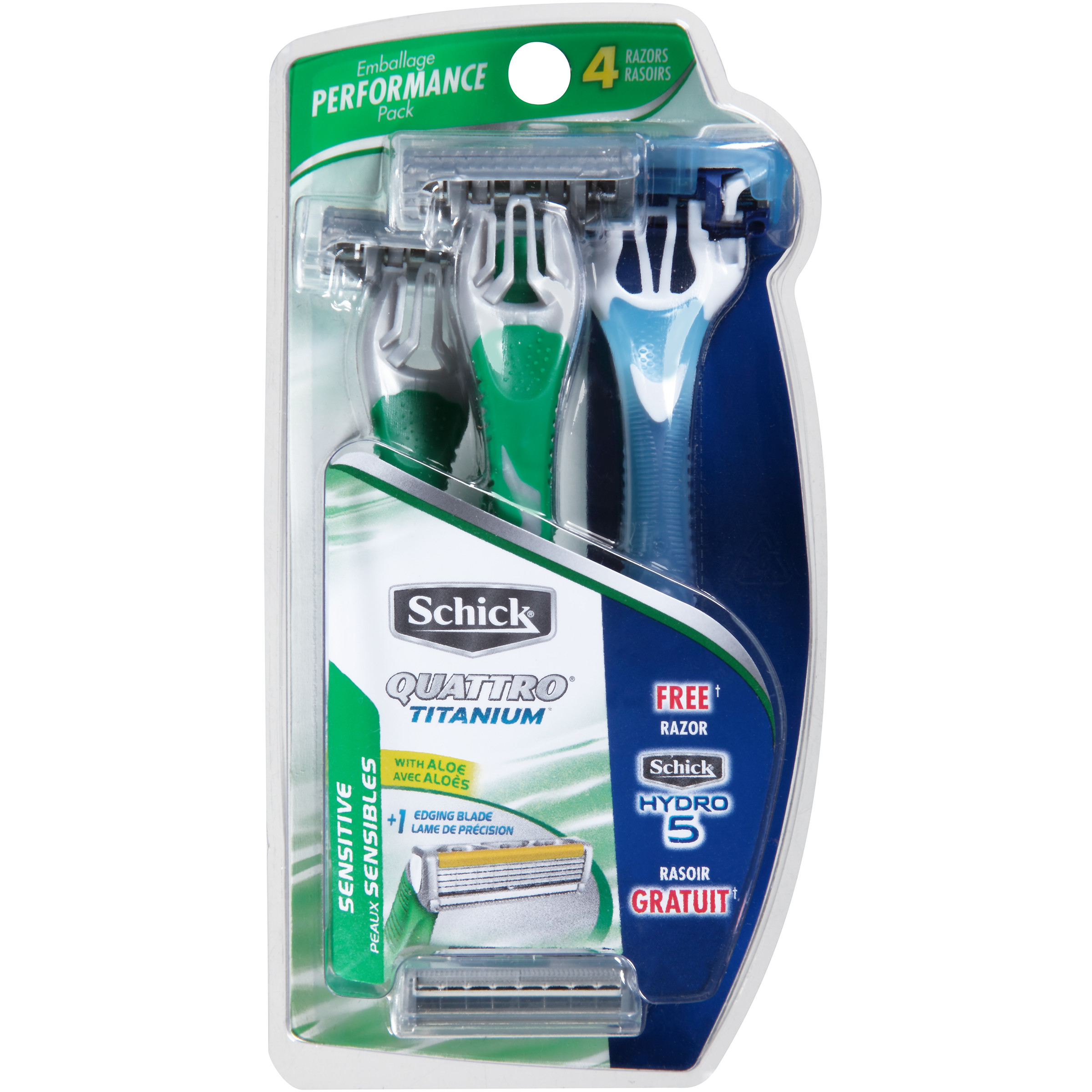 Schick Quattro Titanium For Men Sensitive Disposable Razor - 3 Count Plus 1 Hydro 5 Men's Disposable Razor