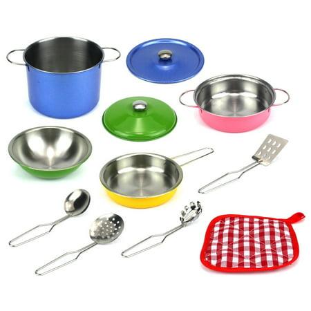 Complete Kitchen (Colorful Kitchen Complete 11 Pcs. Metal Children's Kid's Toy Kitchenware Playset w/ 2 Pots, Pan, 2 Lids, Bowl, Utensils, Oven Mitt )