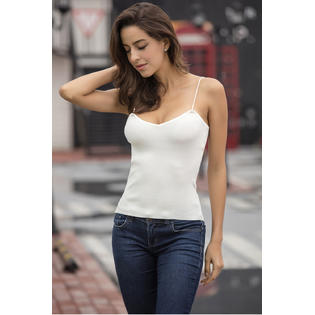Women Knitted Deep Neck Straps Camisole White
