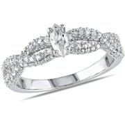 Kp White Gold Cz Solitaire Ring