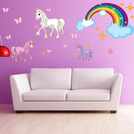 style and apply unicorn wall decal. Black Bedroom Furniture Sets. Home Design Ideas