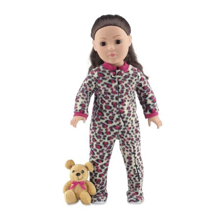 18 Inch Doll Clothes   Cozy Footed Pink Cheetah Print Pajama Outfit Onesie with Teddy Bear   Fits American Girl Dolls