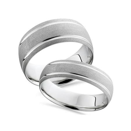 Pompeii3 14k White Gold Matching His Hers Brushed Wedding Band