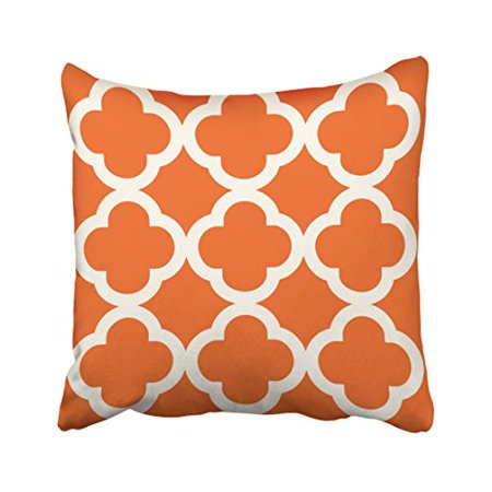 WinHome Decorative Pillowcases Trendy Clover Pattern In Pumpkin Orange Throw Pillow Covers Cases Cushion Cover Case Sofa 18x18 Inches Two Side - Hulk Pumpkin Pattern