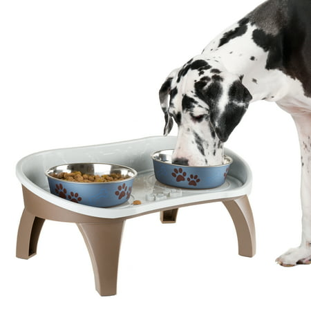 Elevated Pet Feeding Tray with splash guard and non-skid feet 21