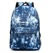 Lightning Print Canvas School Travel Laptop Backpack Rucksack Daypack Bags (Blue)