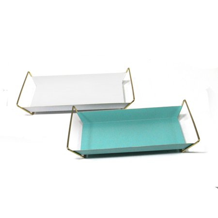 Stratton Home Decor Set Of 2 White And Turquoise Modern Trays