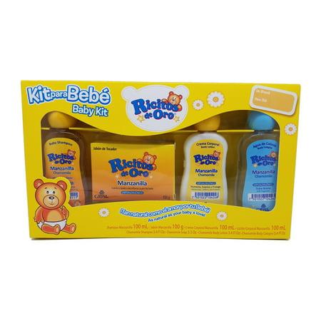 Ricitos De Oro Chamomile Kit. Bar Soap 3.5 Oz, Shampoo 3.4 Fl.Oz, Body Lotion 3.4 Fl.Oz, Cologne 3.4 Fl.Oz. Hypoallergenic and Natural. 4 Pieces. Large Soap Kit