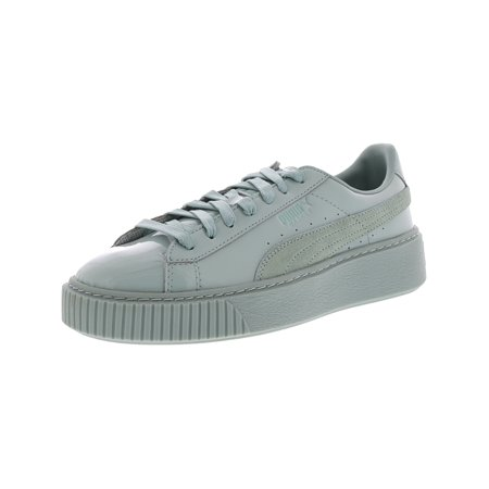 Puma Women's Basket Platform Patent Blue Surf Ankle High Fashion Sneaker 7.5M