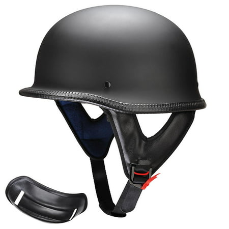 Yescom DOT German Style Motorcycle Helmet Half Open Face Cruiser Chopper Biker Skull Cap Helmet Black M/L/XL