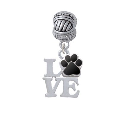 Love with Black Paw - Large Rope with Cross Beads Charm Bead - Love Beads